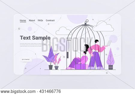 Businesspeople Working In Birdcage Business People Locked In Cage Without Freedom
