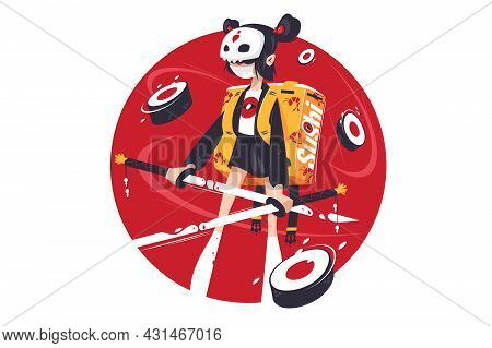 Samurai Girl With Katana Vector Illustration. Woman Works In Delivery Service Flat Style. Protective