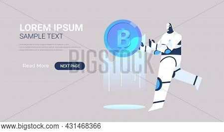 Robot Holding Bitcoin Crypto Currency Digital Web Money Mining Passive Income Earnings Artificial In