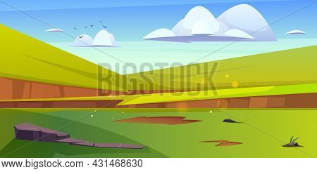 Cartoon Nature Landscape Green Field With Grass And Rocks Under Blue Sky With Fluffy Clouds And Flyi