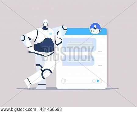 Modern Chatbot Assistant Conversation Robotic Character Chatting By Messages Chat App Artificial Int