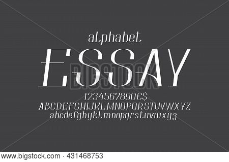Essay Italic Font. Uppercase And Lowercase Letters, Numbers And Currency Signs. Isolated English Alp