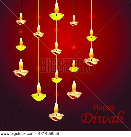 Pendant Oil Lamps For Diwali, Vector Art Illustration.