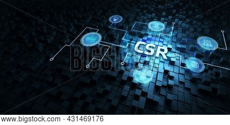 Csr Abbreviation, Modern Technology Concept. Business, Technology, Internet And Network Concept 3d I