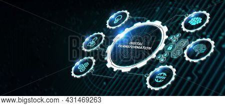 Concept Of Digitization Of Business Processes And Modern Technology. Digital Transformation. 3d Illu
