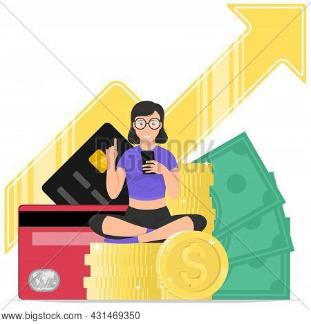 Vector Design Of Woman Earning A Lot Of Money With Her Mobile, Mobile Application To Earn A Lot Of M