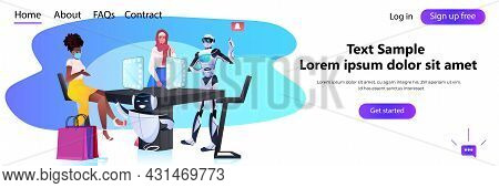 Robots Showing Items To Mix Race Women In Fashion Boutique Artificial Intelligence Technology Shoppi