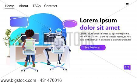 Businesswoman And Robot Working On Computers Chat Bubble Communication Artificial Intelligence Teamw