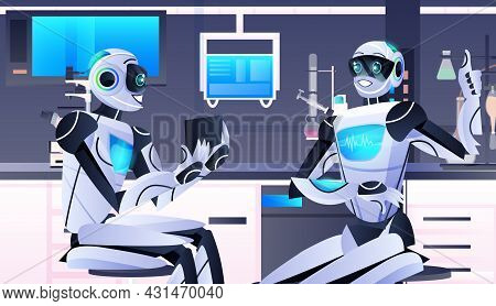 Robots Holding Test Tube Robotic Chemists Making Experiments In Lab Genetic Engineering Artificial I