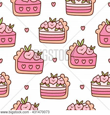 Surface Pattern Design With Peach Cake, Flower, Heart On A White Background. Sweet Beautiful Backgro