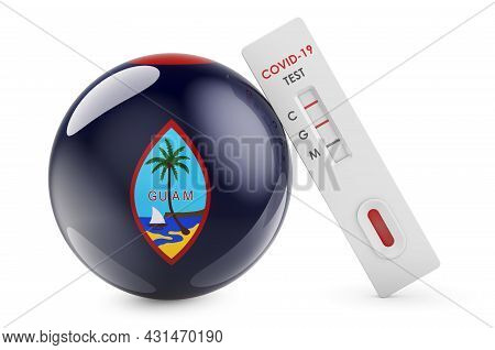 Diagnostic Test For Coronavirus In Guam. Antibody Test Covid-19 With Guamanian Flag, 3d Rendering Is