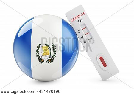 Diagnostic Test For Coronavirus In Guatemala. Antibody Test Covid-19 With Guatemalan Flag, 3d Render