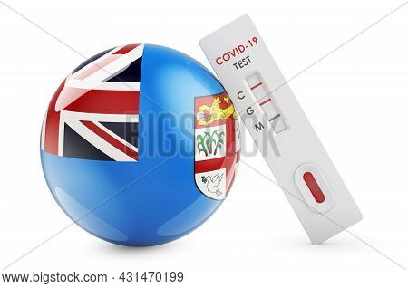 Diagnostic Test For Coronavirus In Fiji. Antibody Test Covid-19 With Fijian Flag, 3d Rendering Isola