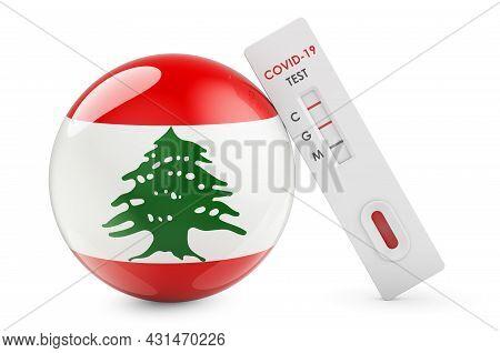 Diagnostic Test For Coronavirus In Lebanon. Antibody Test Covid-19 With Lebanese Flag, 3d Rendering