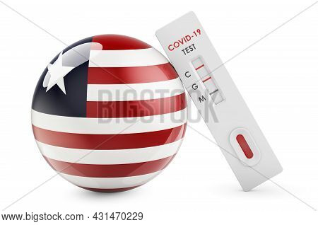 Diagnostic Test For Coronavirus In Liberia. Antibody Test Covid-19 With Liberian Flag, 3d Rendering