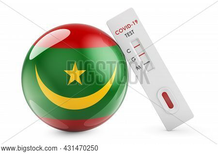 Diagnostic Test For Coronavirus In Mauritania. Antibody Test Covid-19 With Mauritanian Flag, 3d Rend
