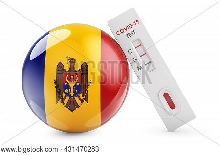 Diagnostic Test For Coronavirus In Moldova. Antibody Test Covid-19 With Moldovan Flag, 3d Rendering