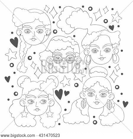 Beautiful Girl. Cartoon Character. Crazy Hairstyle Model Art. Hearts, Stars, Dots And Sparkles. Isol