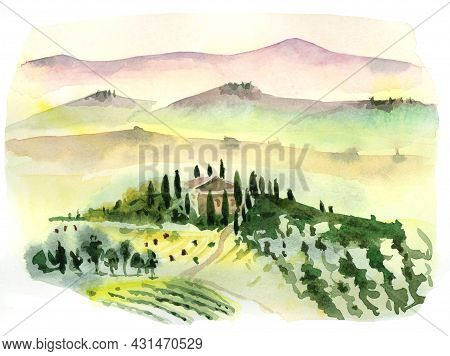 Watercolor Drawing Of A Mediterranean Landscape. Italy, Tuscany, Beautiful Houses On A Hill Surround