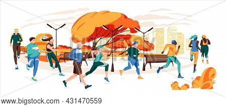 Men And Women Dressed In Sportswear Jogging Or Running Through Autumn Park. Sports Competition, Outd