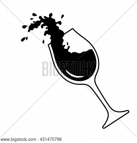 Wineglass With Splashes Of Wine, Pouring. Red Wine Expressive Splashes In Glass, Vector Outline Illu