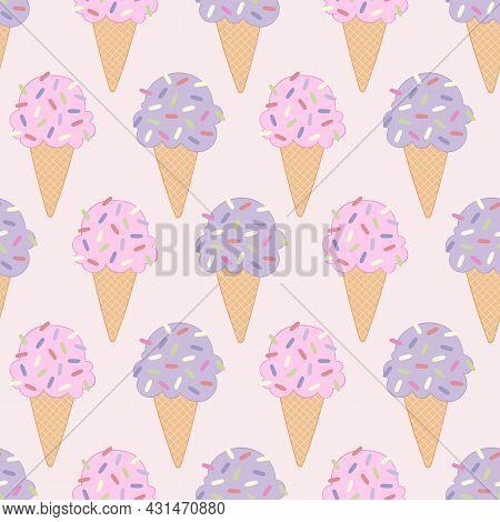 Ice Cream. Cute Cartoon Food. Summer Sweetness. Seamless Vector Pattern (background). Dessert Sweet