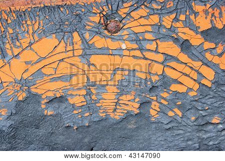 Old Orange Painted On Crack Rubber Texture