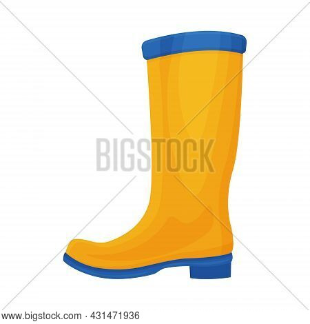 A Bright Rubber Boot Of Yellow-blue Color. A Boot For Walking In Cold Weather. Shoes For Protection