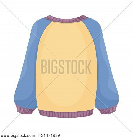 Bright Warm Knitted Sweater In Blue And Yellow Color. Warm Clothes For Walking In Cold Weather. A Wa