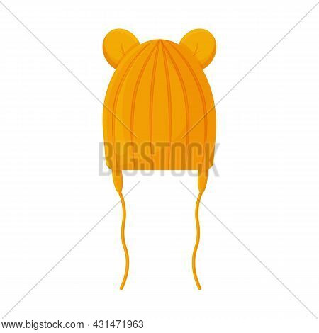 A Warm Knitted Children S Hat With Cute Bear Ears. A Warm Yellow Hat For Walking In Cold Weather. Wa