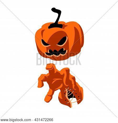 An Evil Pumpkin With A Creepy Gloved Hand, A Symbol Of Halloween, Jack-o-lantern, A Color Vector Ill