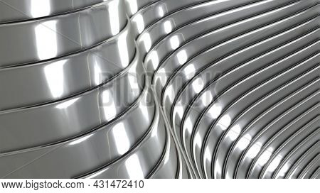 Abstract silver background with 3D waves pattern, interesting minimal chrome metal striped vector background illustration