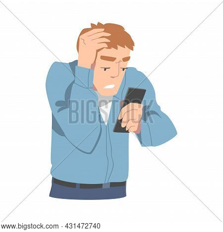 Disappointed With Bad News Man Character Reading Message On Smartphone Vector Illustration