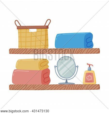 Bathroom Wall Mounted Shelf With Hygienic Accessories And Folded Towel Vector Illustration