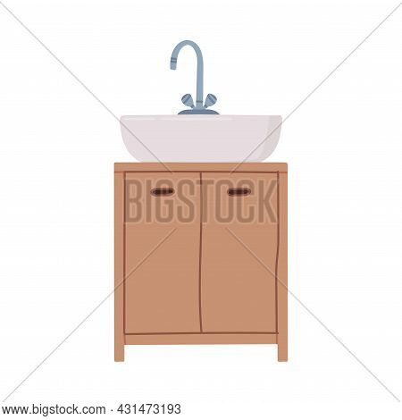 White Bathroom Sink Basin With Tap And Drawer Isolated On White Background Vector Illustration