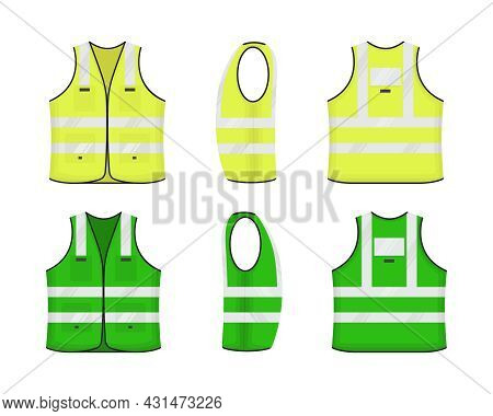 Safety Reflective Vest Icon Sign Flat Style Design Vector Illustration Set. Yellow And Green Fluores