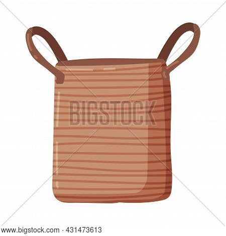 Empty Laundry Basket Or Hamper With Side Handle Vector Illustration