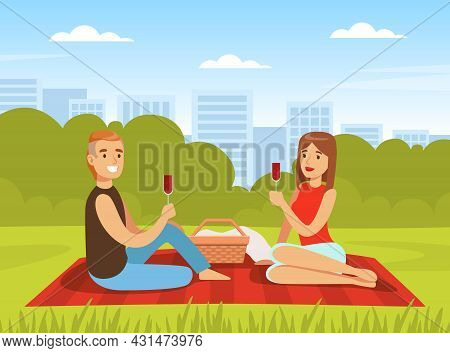Romantic Couple Having Picnic Sitting On Blanket With Glass Of Wine And Hamper Vector Illustration