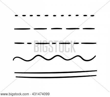 Hand Drawn Underline, Emphasis, Lines Set. Brush Strokes. Handmade Scribble Underline. Vector Illust
