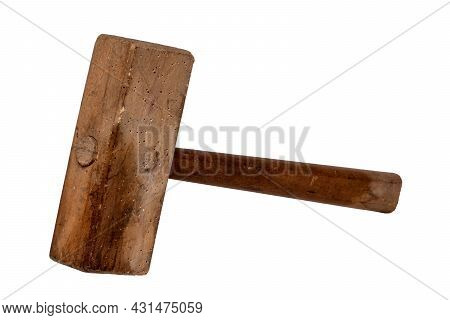 Closeup Of Ancient Wooden Hammer Or Mallet With Woodworm Isolated On A White Background. Macro.