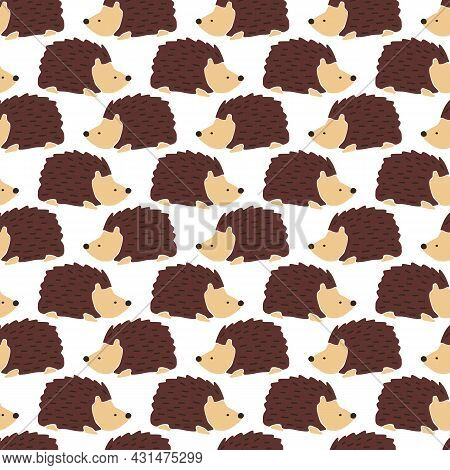 Hedgehog Seamless Vector Background. Cute Autumn Pattern Repeat With Fall Animals. Fall Kids Autumn