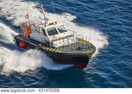 Pilot Vessel Operating On The Sea. Harbor Maritime Control