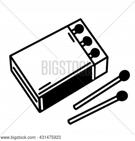 Hand-drawn Box Of Matches. The Open Carton Contains Inside A Thin Wooden Matches With Sulfur. A Sket