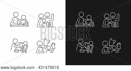 Effective Parenting Style Linear Icons Set For Dark And Light Mode. Helping With Homework. Family Po