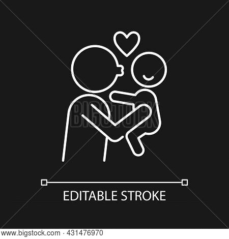 Kissing Child On Cheek White Linear Icon For Dark Theme. Showing Affection. Emotional Bond. Thin Lin