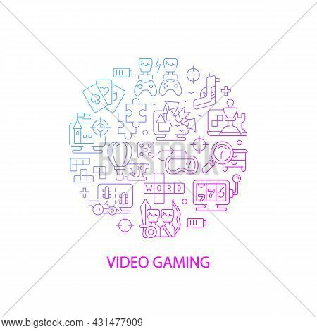 Video Game Abstract Gradient Linear Concept Layout With Headline. Gamers And Players Fun. Playing Co