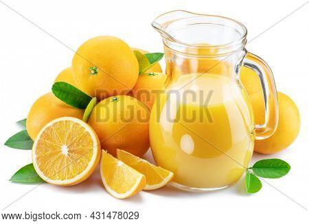 Yellow orange fruits and carafe of fresh orange juice isolated on white background.