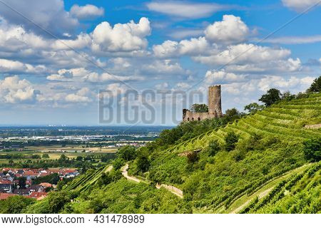 View On Odenwald Fores Hill With German Castle Ruin And Restaurant Called Strahlenburg In Schrieshei
