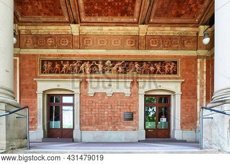 Baden-baden, Germany - July 2021: Entrance Of Historic Pump House Called 'trinkhalle' Lined With Fre