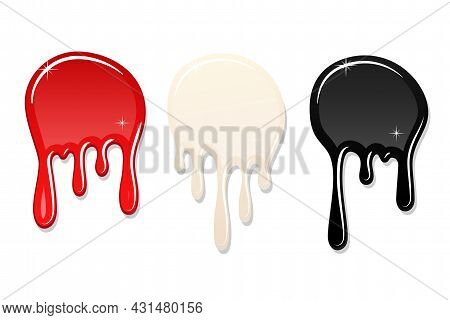 Drip Paint Spot 3d Set Isolated White Background. Red, Black Ink Splash. Splatter Stain Texture. Dri